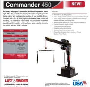 Pride Commander 450 vehicle lift brochure