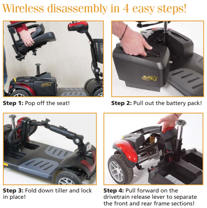 Golden Buzzaround EX Disability Scooter 3-Wheel wireless disassembly in four easy steps. (Golden Technologies graphic)