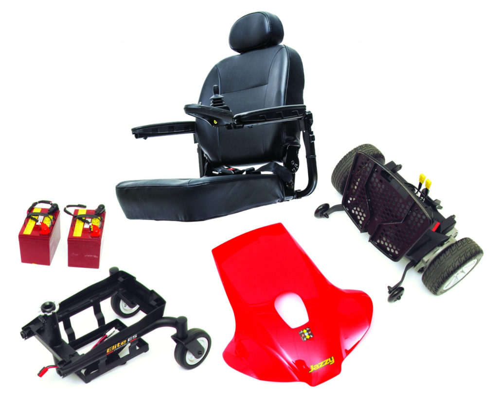 Jazzy Elite ES Portable Power Wheelchair disassembled. (Credit: Mobility Scooters Direct)