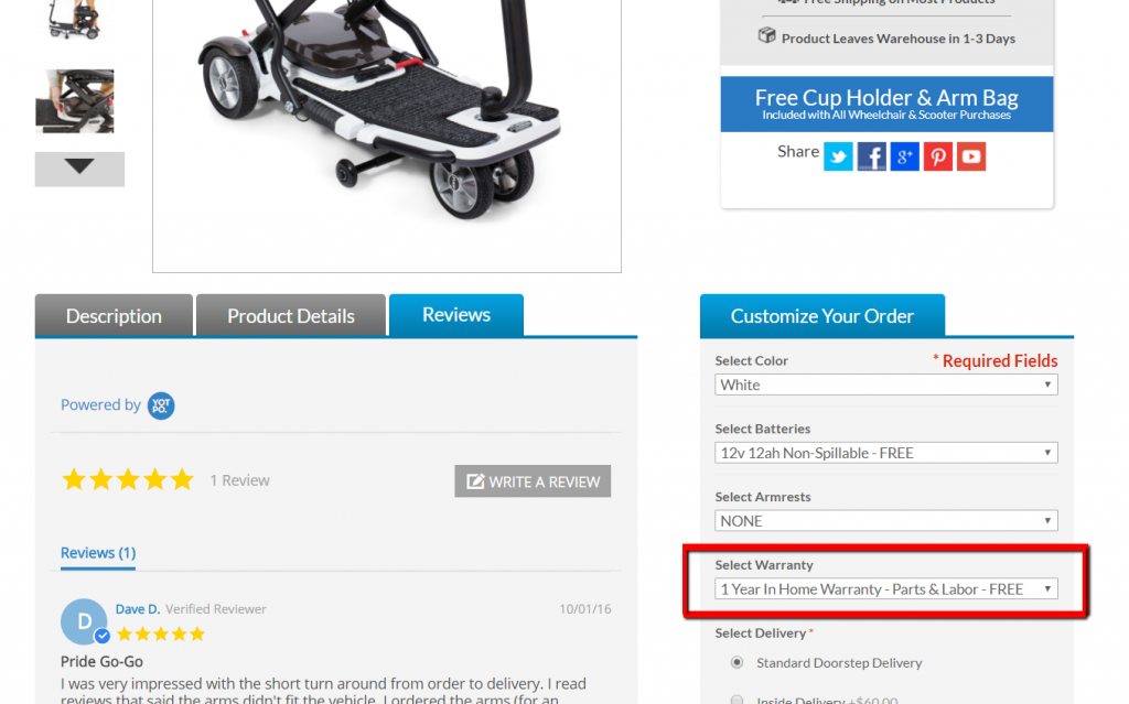 warranty options for mobility scooters direct products