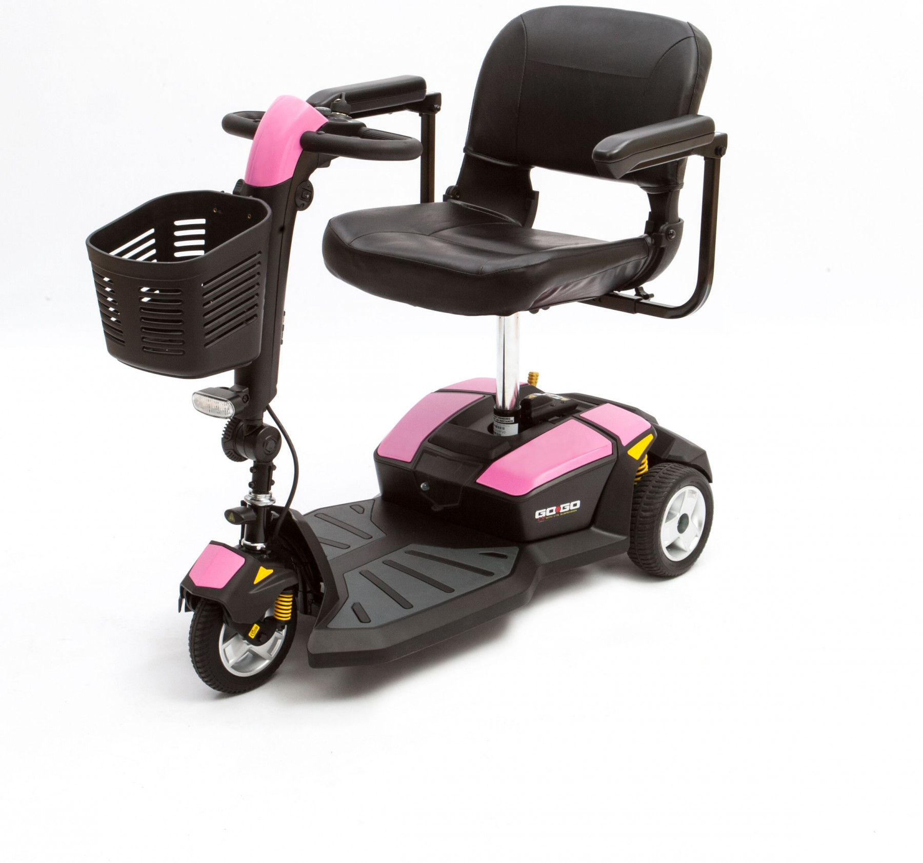 Pink mobility scooter pride go go lx 3 wheel tax free for Go go motorized scooter