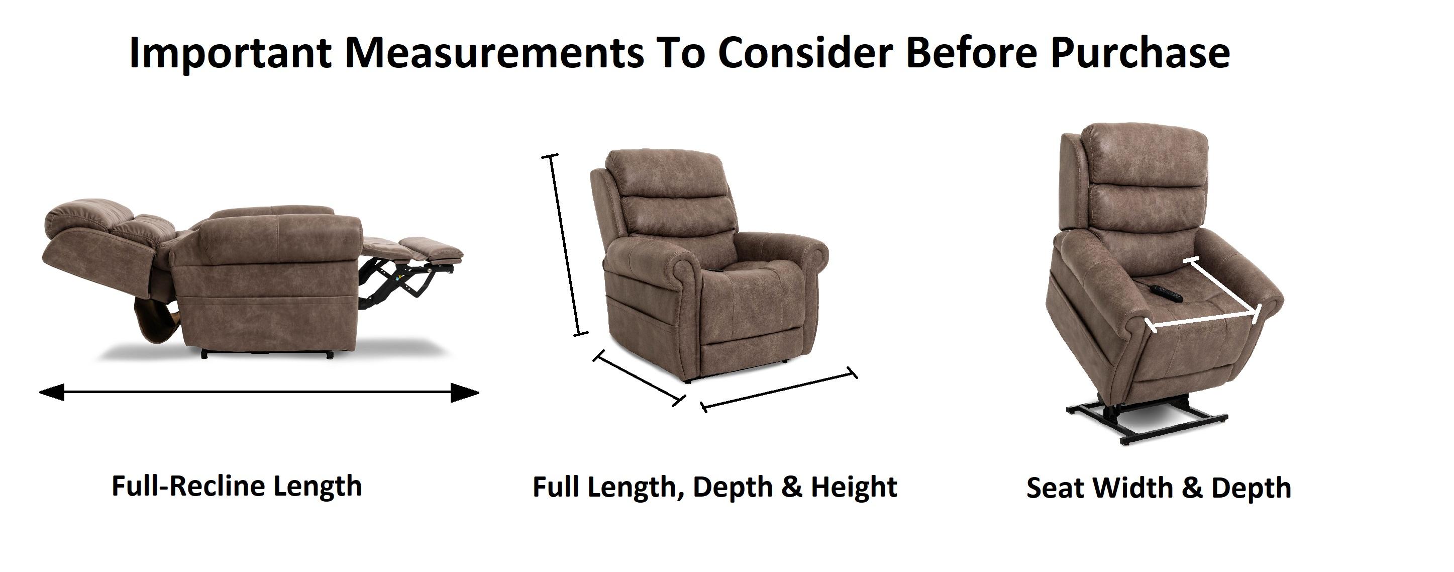 medical recliner size dimensions